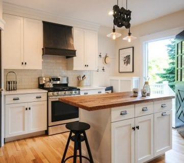 Modernized Bungalow Kitchen Renovation with Reclaimed Wood Countertop
