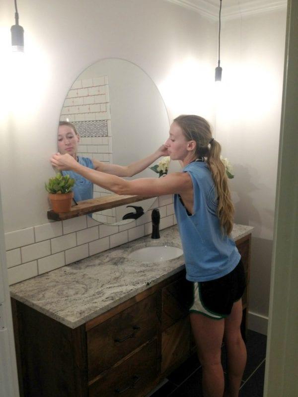 Diy Sunrise Floating Mirror And Shelf, Woodshop Diaries Featured On @remodelaholic