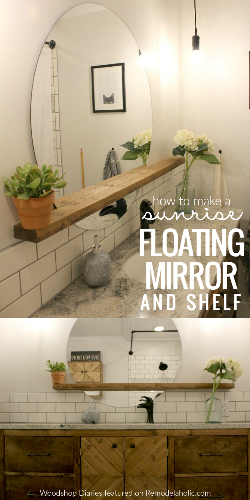 Building a floating bathroom vanity - Give An Inexpensive Basic Round Mirror A Modern Update With This Diy Sunrise Floating Mirror And