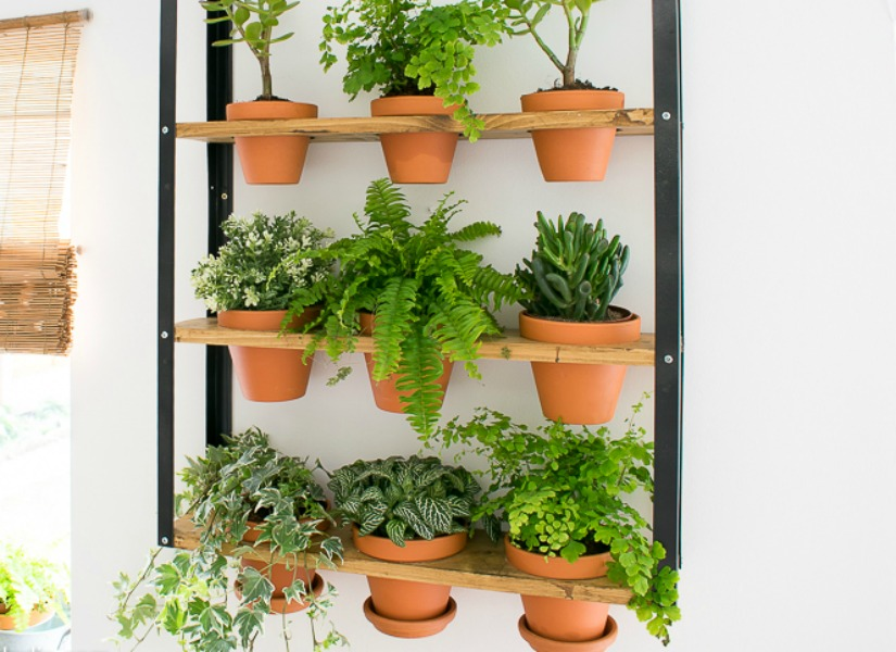 Remodelaholic ikea hyllis hack industrial wall planter for Indoor wall planters ikea