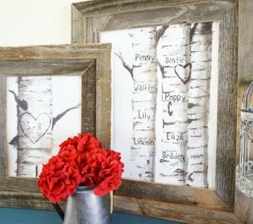 Feat Free Printable Birch Tree Art With Custom Carved Initials @Remodelaholic