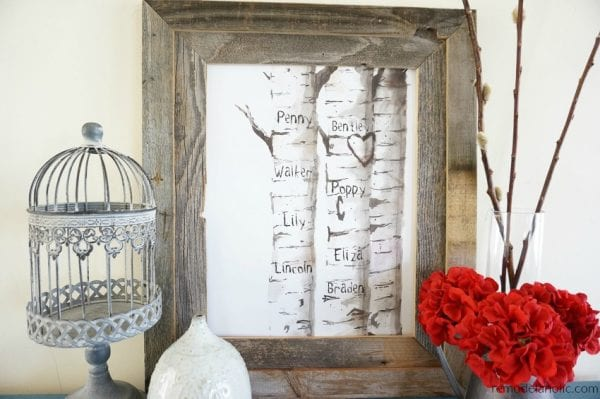 Free Printable Set Watercolor Birch Tree Art With Custom Carved Initials For Family Or Children's Names @Remodelaholic