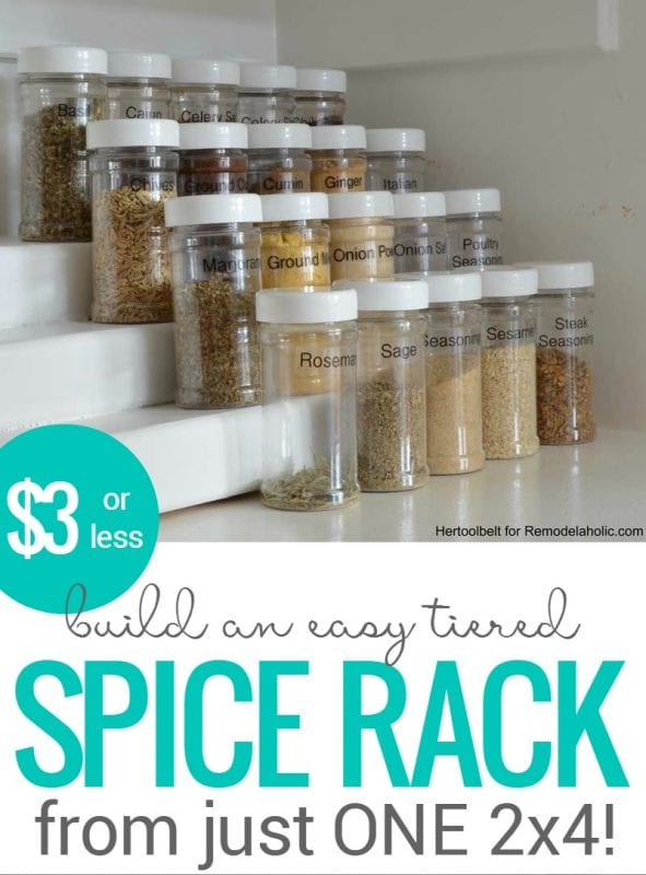 How To Build An Easy Tiered Spice Rack For Three Bucks Or Less   pantry organizing   simple building plan   DIY tutorial