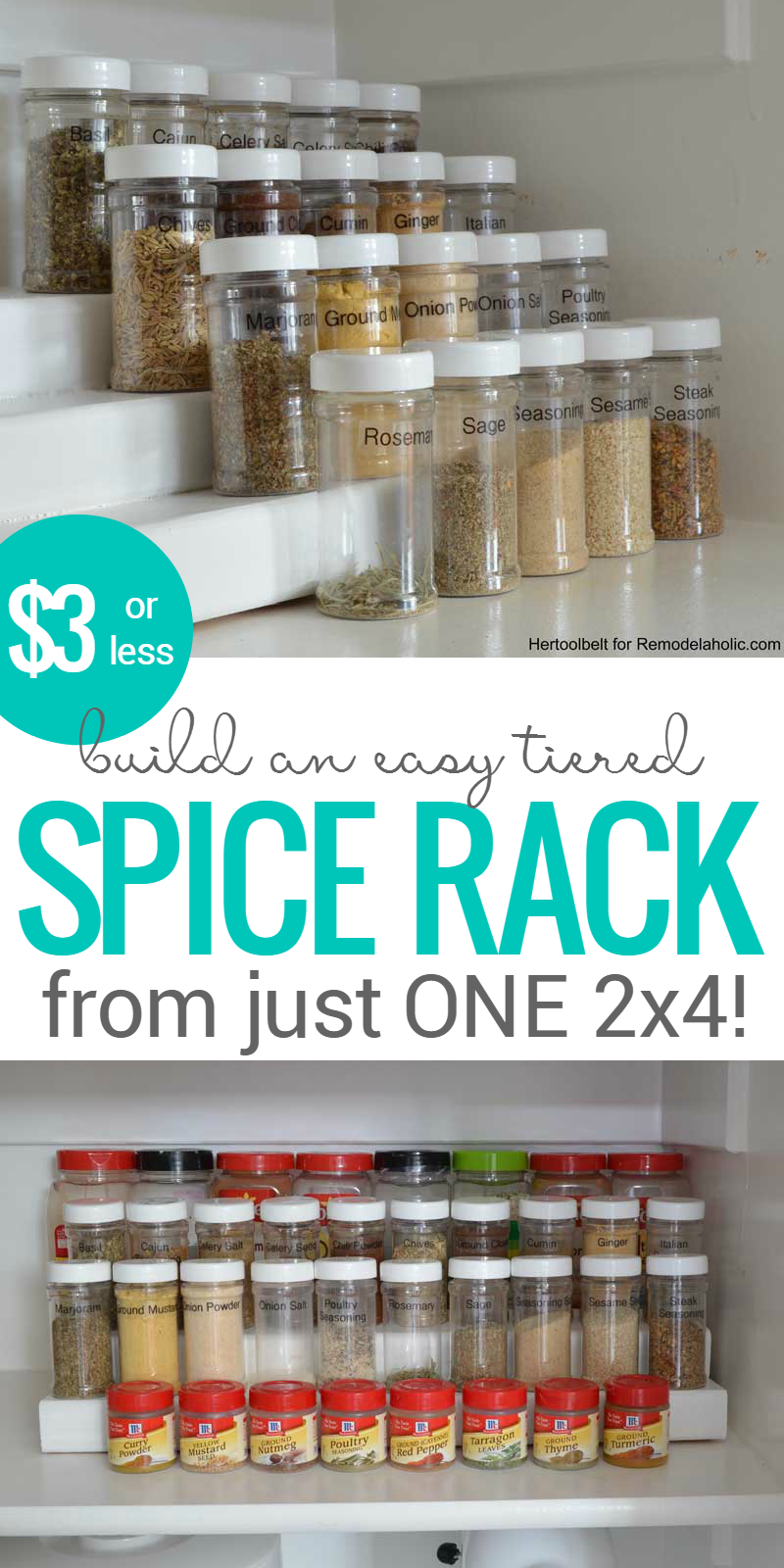 Tier Spice Rack Remodelaholic How To Build An Easy Tiered Spice Rack