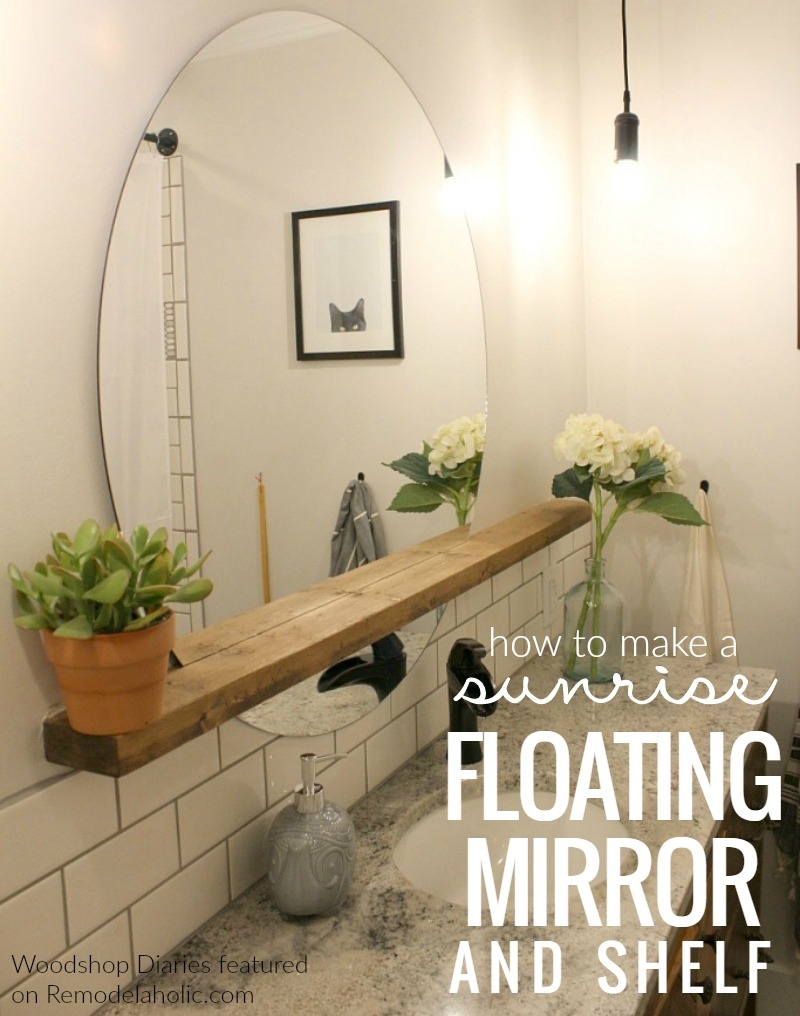Remodelaholic how to make a modern sunrise floating mirror shelf give an inexpensive basic round mirror a modern update with this diy sunrise floating mirror and amipublicfo Gallery