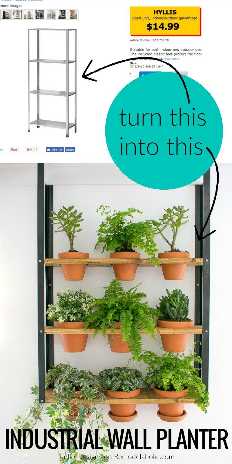 Remodelaholic ikea hyllis hack industrial wall planter for Garden design hacks