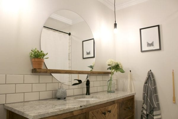 Modern Bathroom Round Sunrise Floating Mirror DIY, Woodshop Diaries Featured On @remodelaholic (1)