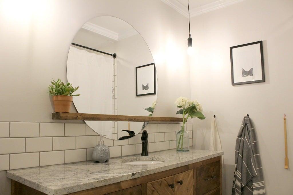 how to make a modern sunrise floating mirror shelf. Black Bedroom Furniture Sets. Home Design Ideas