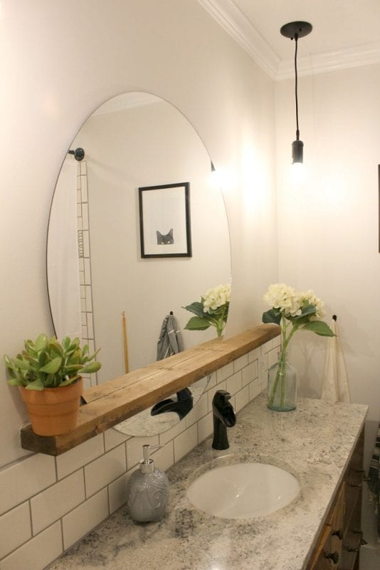 Modern Bathroom Round Sunrise Floating Mirror DIY, Woodshop Diaries Featured On @remodelaholic (2)