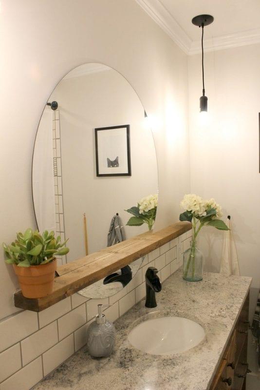 Modern Bathroom Round Sunrise Floating Mirror DIY, Woodshop Diaries Featured On @remodelaholic (2)