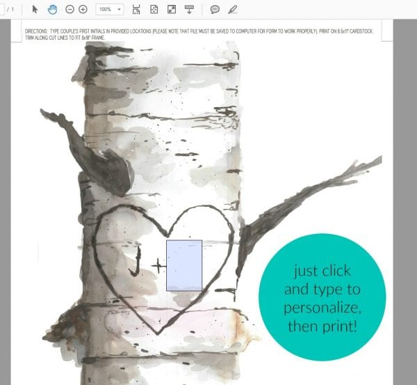 Personalized Birch Art Carved Initials Prints W Text @Remodelaholic
