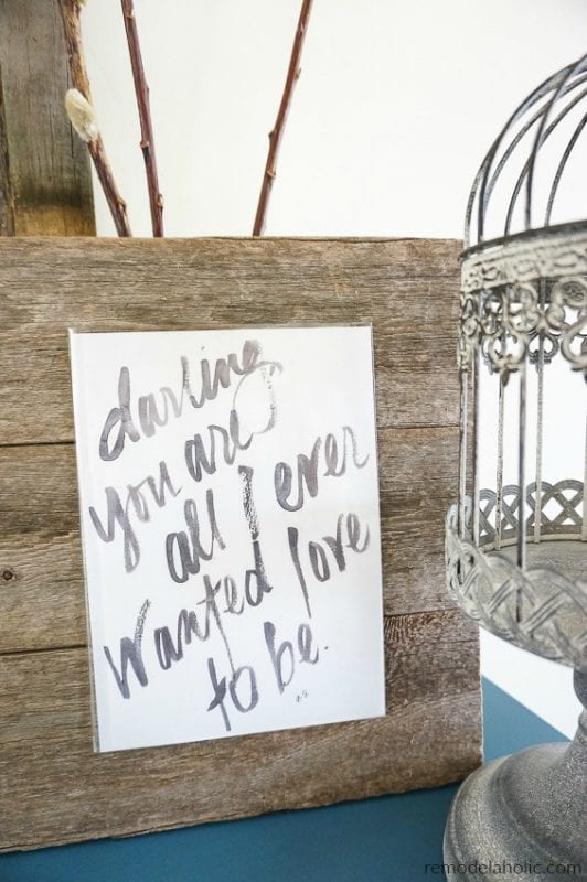 Valentine's Day Free Printable Set Of Watercolor Love Quote And Birch Tree Art With Custom Carved Initials @Remodelaholic