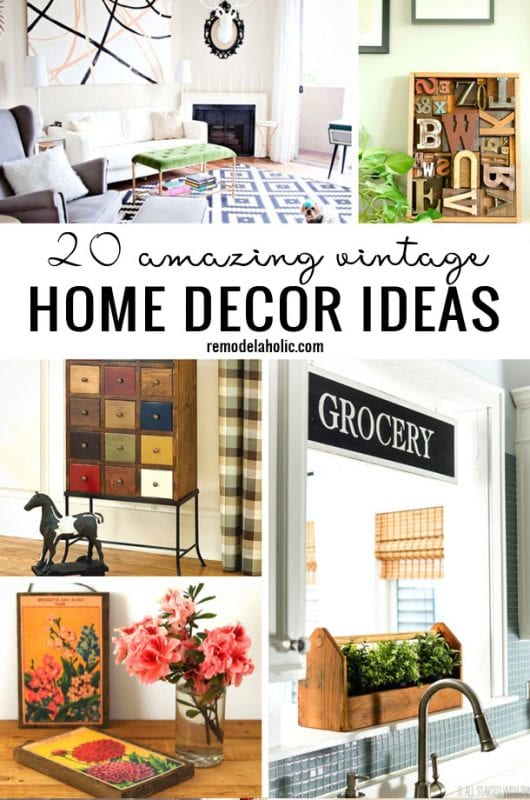 Find the perfect way to get the vintage look around your home with these 20 Amazing Vintage Home Decor Ideas featured on Remodelaholic.com