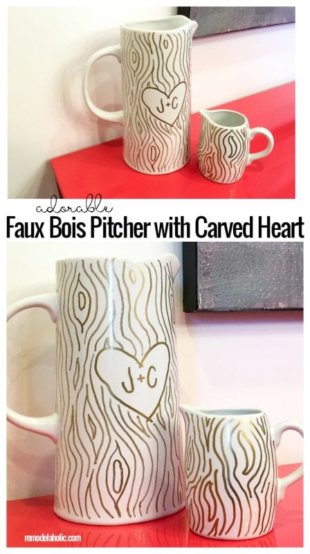 Adorable Faux Bois Pitcher With Carved Hearts By @Remodelaholic