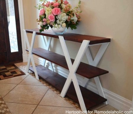 Remodelaholic diy farmhouse entryway inspiration for Easy entry cart plans