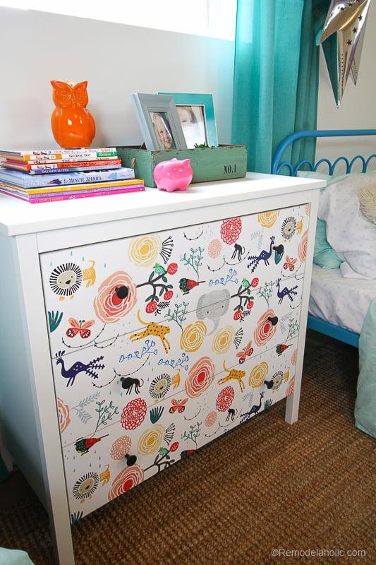 DIY Ikea Dresser Hack Updating With Wallpaper @remodelaholic 5