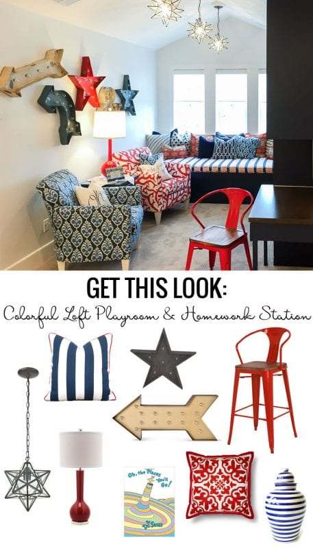 Get This Look: Colorful Loft Playroom And Homework Station featured on Remodelaholic.com