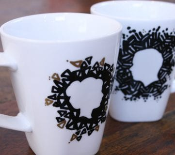 Silhouette Sharpie Mugs for Valentine's Day