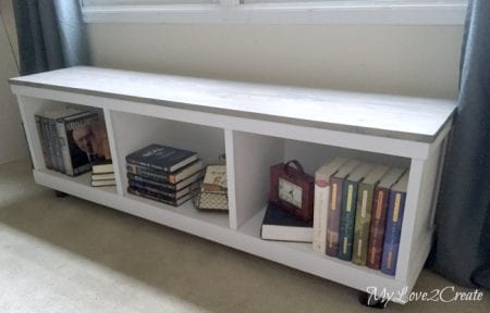 MyLove2Create Cheap Cabinet Into Nice Bench Inside With Books