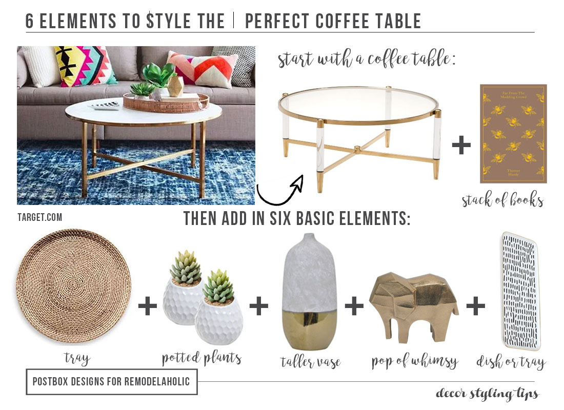 Remodelaholic the 6 step formula to style the perfect coffee table decorating a coffee table can be both magazine beautiful and practical for family life geotapseo Gallery