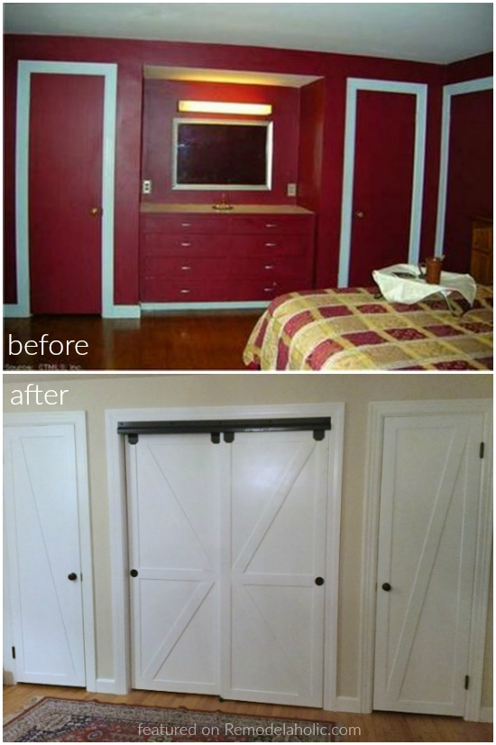 Before And After Diy Closet Byp Doors Turned Faux Sliding Barn Featured On