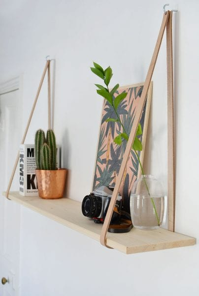 Burkatron Diy Leather Strap Shelf