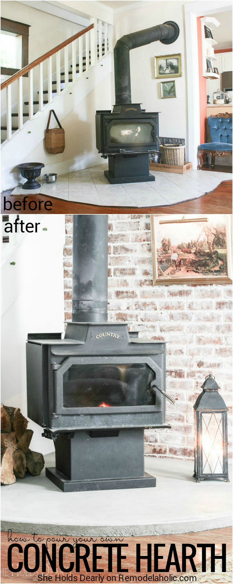 Remodelaholic simple diy concrete hearth over tile see how sarah replaced a dated and quirky tile hearth with a simple and inexpensive diy solutioingenieria Choice Image