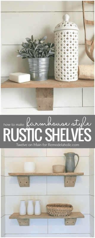 DIY rustic farmhouse shelves made from reclaimed wood | Tutorial from Twelve on Main at Remodelaholic.com