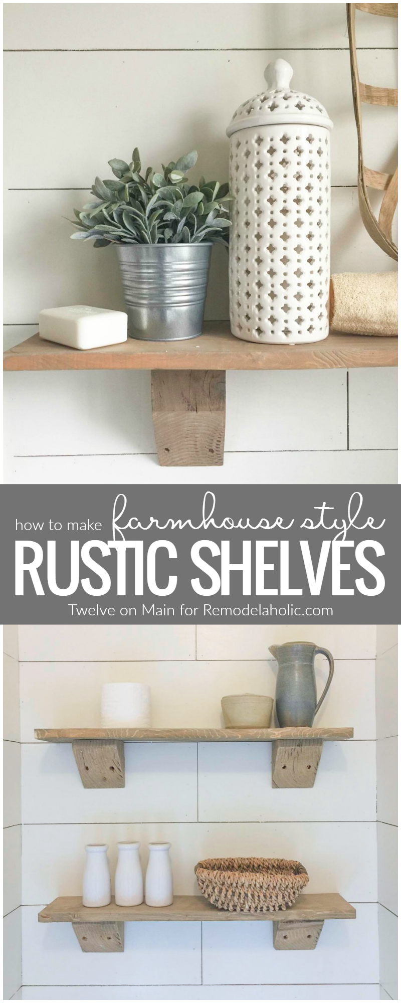 Remodelaholic Diy Rustic Farmhouse Shelves