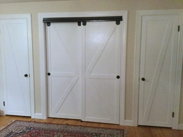 Faux Barn Door Closet Door Makeover Featured On @Remodelaholic Edit