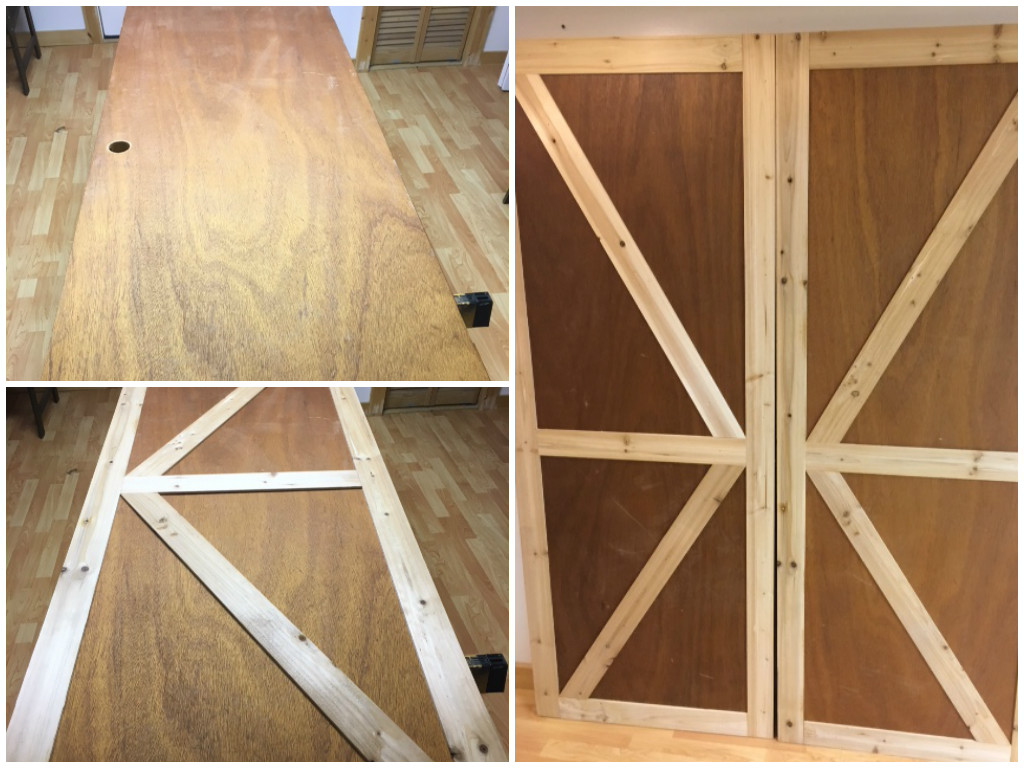 How To how to make a barn door images : Remodelaholic | How to Make Bypass Closet Doors Into Sliding Faux ...