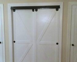 Feat Faux Barn Door Closet Door Makeover Featured On @Remodelaholic Edit