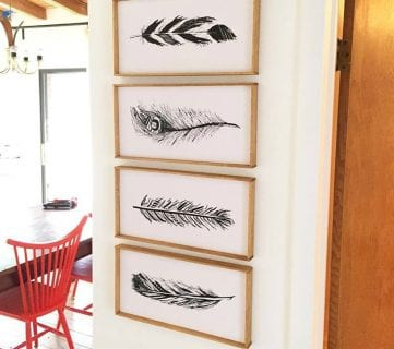 Free Hand Drawn Feather Printables Plus The Easiest Way To Mount And Frame Art Prints @Remodelaholic