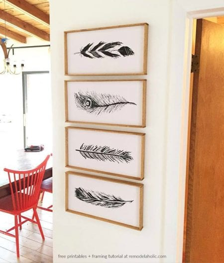 Hand Drawn Feather Printables Art Set Plus The Easiest Way To Mount And Frame Art Prints @Remodelaholic