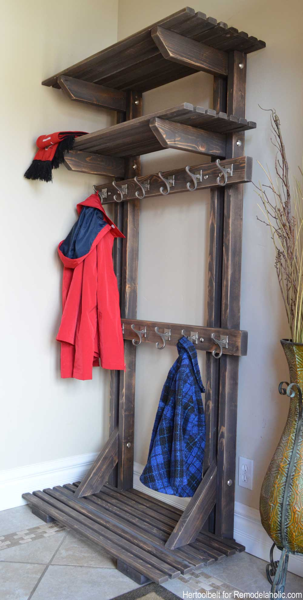 Remodelaholic DIY Hall Tree Coat Rack inspired by