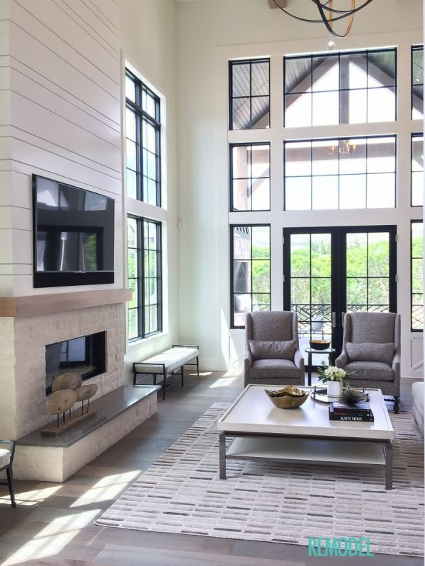 Remodelaholic get this look modern farmhouse living room for Modern farmhouse windows