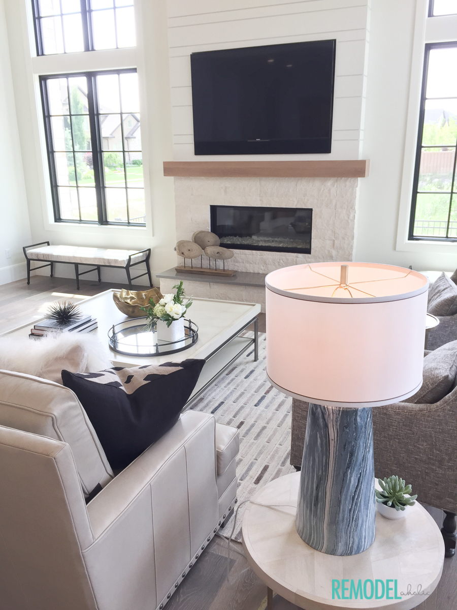 Remodelaholic get this look modern farmhouse living room for Modern look living room