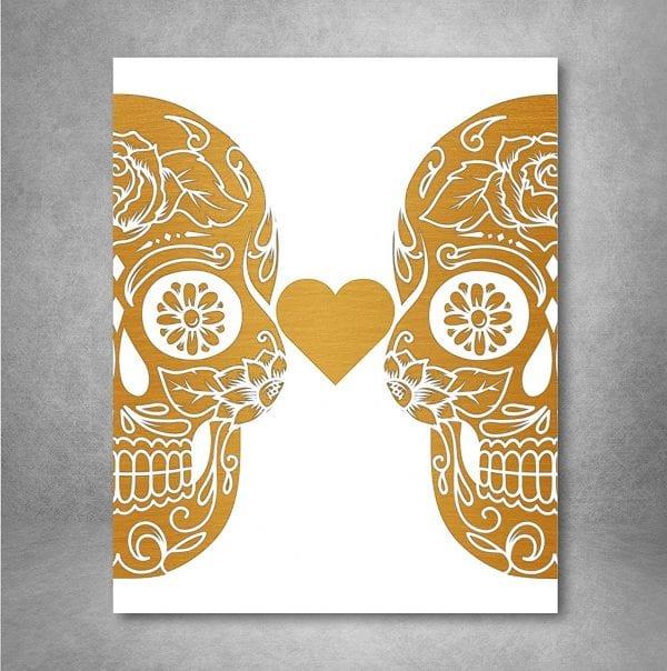 Non Traditional Valentine's Day Art Print, Gold Foil Sugar Skulls