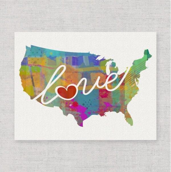 Non Traditional Valentine's Day Art Print, Watercolor Love USA