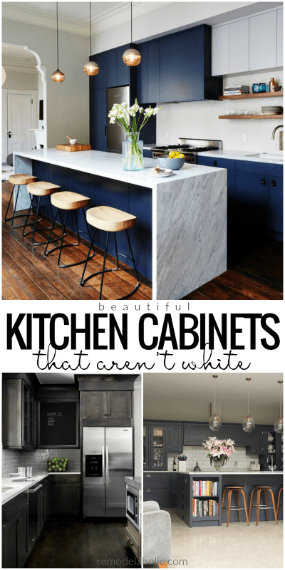 Non White Dark Kitchen Cabinets @Remodelaholic