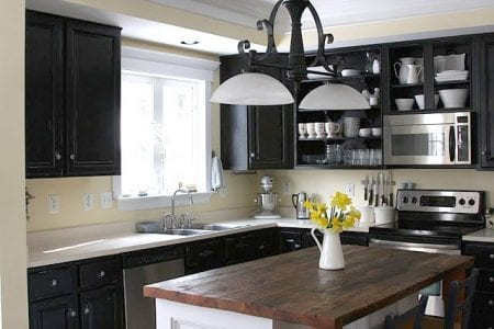 Painted Black Kitchen remodelaholic | dark kitchen cabinet inspiration and design tips