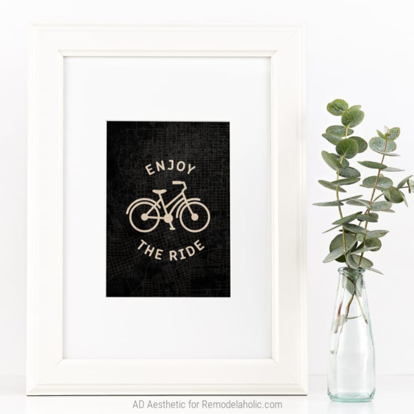 Printable Bicycle Cycling Wall Art, Enjoy The Ride, AD Aesthetic For Remodelaholic