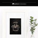 Printable Black And White Bicycle Cycling Wall Art, Enjoy The Ride, AD Aesthetic For Remodelaholic