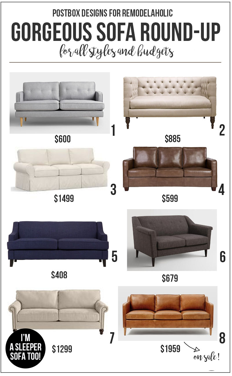 Beautiful Sofas For All Styles And Budgets @Remodelaholic | Budget Friendly  Home Decorating |