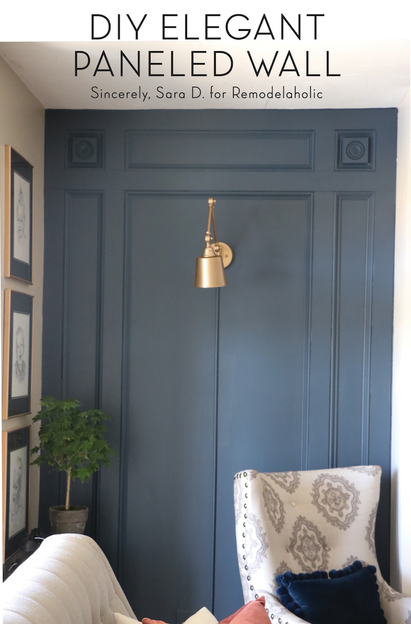 Learn how to install an elegant DIY paneled wall treatment with this step-by-step tutorial, so easy even a beginner can do it!