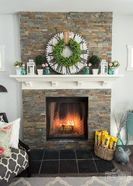Fresh Floral Spring Mantel Decor Idea 5