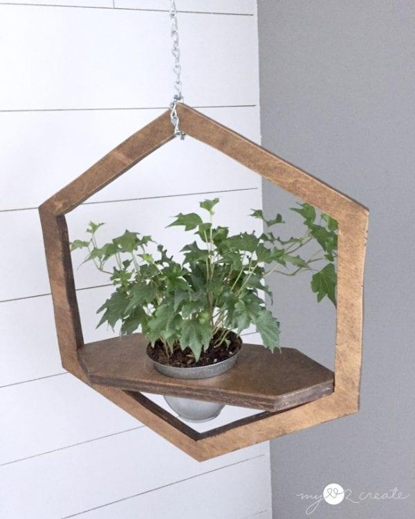 Hexagon Hanging Planter Topish View, MyLove2Create