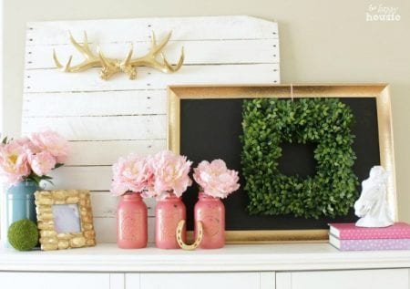 Pastel Gold Spring Mantel With Balsam Hill Boxwood Wreath At The Happy Housie 2