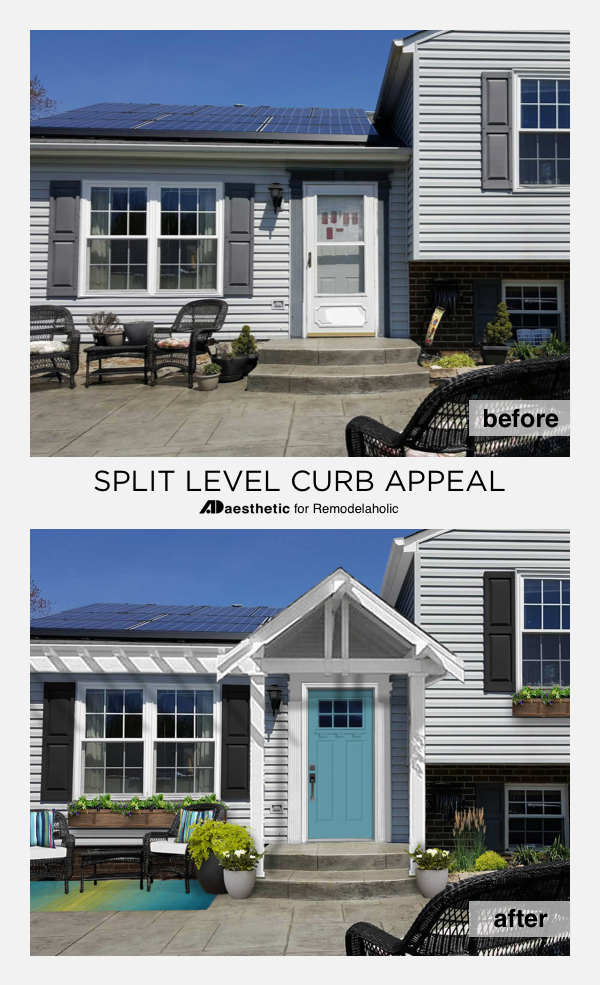 Remodelaholic real life rooms split level curb appeal for Adding an addition to a split level home