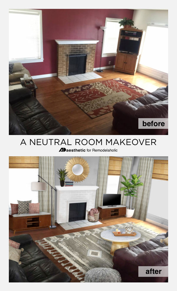 Decorate a neutral living while keeping your existing sofas -- and make a burgundy couch look stylish instead of dated